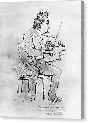 Einstein Playing The Violin Canvas Print by Emilio Segre Visual Archives/american Institute Of Physics