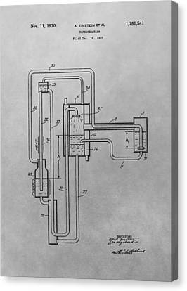 Einstein Refrigerator Patent Drawing Canvas Print by Dan Sproul