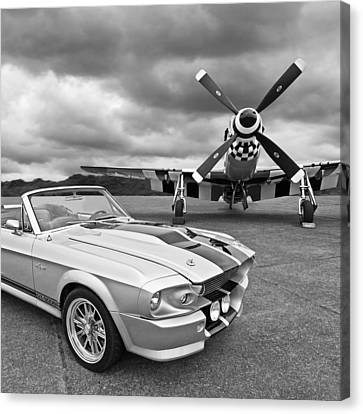 Eleanor Mustang With P51 Black And White Canvas Print by Gill Billington