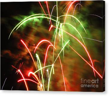 Electric City Fireworks Ix Canvas Print by Daniel Henning