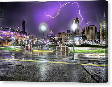 Electric Detroit  Canvas Print by Nicholas  Grunas