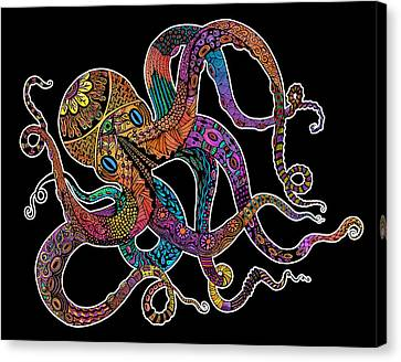Electric Octopus On Black Canvas Print by Tammy Wetzel