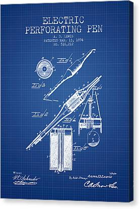 Electric Perforating Pen Patent From 1894 - Blueprint Canvas Print by Aged Pixel