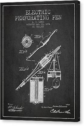 Electric Perforating Pen Patent From 1894 - Charcoal Canvas Print by Aged Pixel