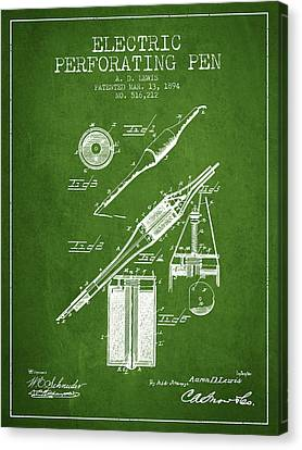 Electric Perforating Pen Patent From 1894 - Green Canvas Print by Aged Pixel