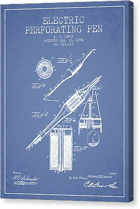 Electric Perforating Pen Patent From 1894 - Light Blue Canvas Print by Aged Pixel