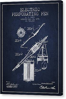 Electric Perforating Pen Patent From 1894 - Navy Blue Canvas Print by Aged Pixel