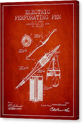 Electric Perforating Pen Patent From 1894 - Red Canvas Print by Aged Pixel