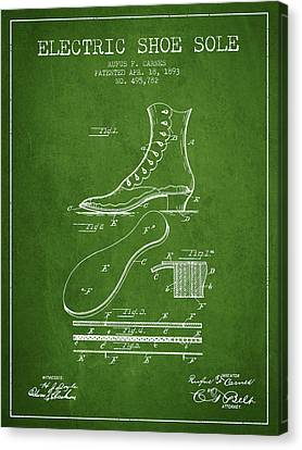 Electric Shoe Sole Patent From 1893 - Green Canvas Print by Aged Pixel