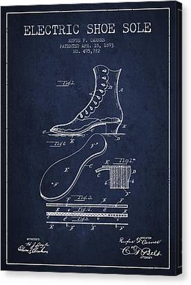 Electric Shoe Sole Patent From 1893 - Navy Blue Canvas Print by Aged Pixel