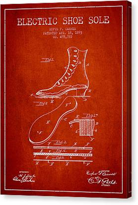 Electric Shoe Sole Patent From 1893 - Red Canvas Print by Aged Pixel