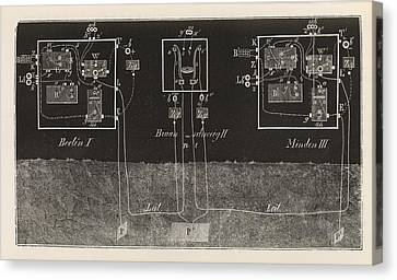 Electric Telegraphy In Germany Canvas Print by King's College London
