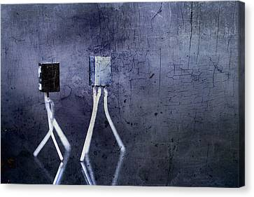 Electrical Circuits In Blue Tone Canvas Print by Toppart Sweden