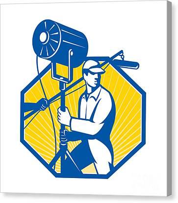 Electrical Lighting Technician Crew Spotlight Canvas Print by Aloysius Patrimonio
