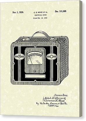 Electrical Meter 1938 Patent Art Canvas Print by Prior Art Design