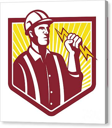 Electrician Holding Lightning Bolt Retro Canvas Print by Aloysius Patrimonio