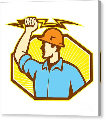 Electrician Wielding Lightning Bolt Canvas Print by Aloysius Patrimonio