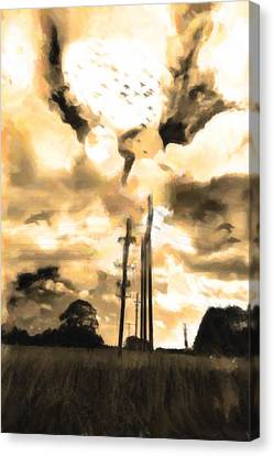 Electricity Poles Canvas Print by Toppart Sweden