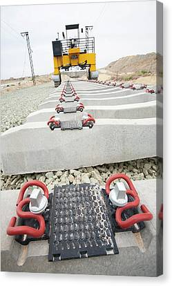 Electrified Railway Line Being Built Canvas Print by Ashley Cooper