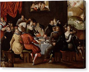 Elegant Figures Feasting And Disporting Canvas Print by Hieronymus II Francken