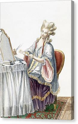 Elegant Lady At Her Dressing Table Canvas Print by Pierre Thomas Le Clerc