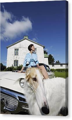 Elegant Woman And Borzoi Dog Canvas Print by Christian Lagereek