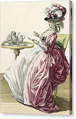 Elegant Woman In A Dress A Langlaise Canvas Print by Pierre Thomas Le Clerc