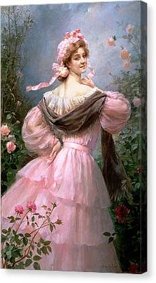 Elegant Woman In A Rose Garden Canvas Print by Felix Hippolyte-Lucas