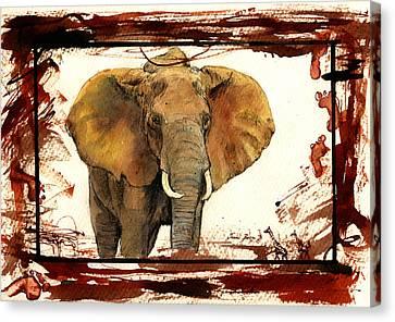 Elephant Blood Safari Canvas Print by Juan  Bosco