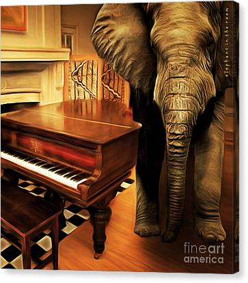 Elephant In The Room 20141225 Square Canvas Print by Wingsdomain Art and Photography