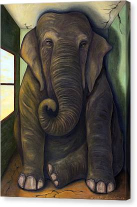Elephant In The Room Canvas Print by Leah Saulnier The Painting Maniac