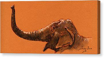 Elephant Indian Canvas Print by Juan  Bosco
