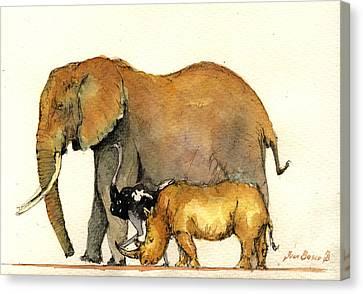 Elephant Ostrich And Rhino Canvas Print by Juan  Bosco