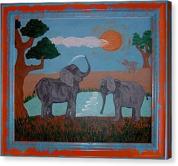 Elephant Paradise  Canvas Print by Yvonne  Kroupa