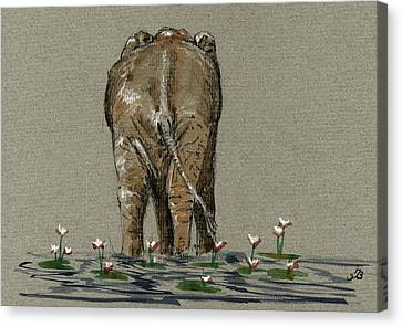 Elephant With Water Lilies Canvas Print by Juan  Bosco