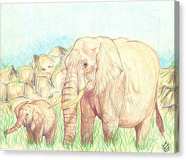 Elephants Canvas Print by Donald Jones