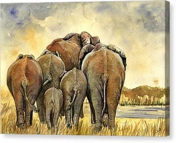 Elephants Herd Canvas Print by Juan  Bosco