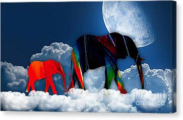 Elephants On Cloud 9 Canvas Print by Marvin Blaine