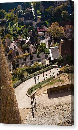 Elevated View Of A Village With Chateau Canvas Print by Panoramic Images