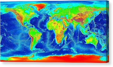 Elevation Map Of The World Canvas Print by Sebastian Musial