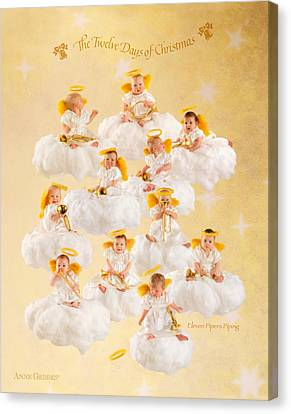 Eleven Pipers Piping Canvas Print by Anne Geddes