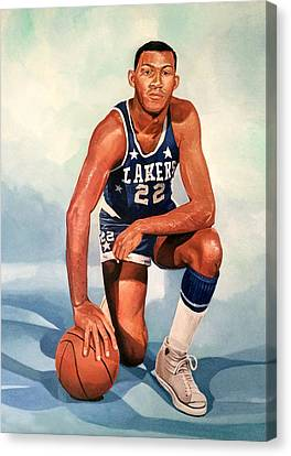 Elgin Baylor - Los Angeles Lakers Canvas Print by Michael  Pattison