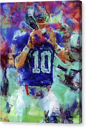 Eli Manning Abstract 1 Canvas Print by David G Paul