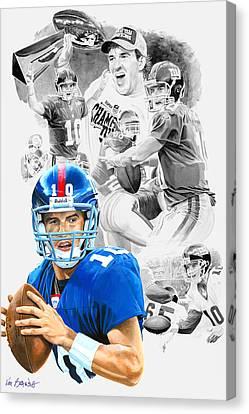 Eli Manning Mvp Canvas Print by Ken Branch