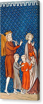 Elimelech And His Wife Naomi With Their Two Sons Canvas Print by French School