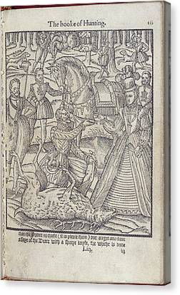 Elisabeth I At A Stag Hunt Canvas Print by British Library