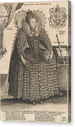 Elizabeth, Queen Of England, C.1603 Canvas Print by Crispin I de Passe