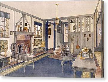 Elizabethan Style Entrance Hall Canvas Print by Richard Goulburn Lovell
