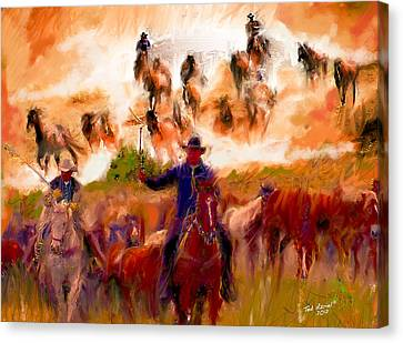 Elk Horse Round Up Canvas Print by Ted Azriel