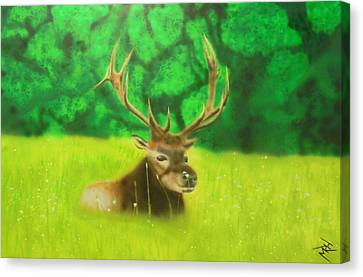 Elk In The Distance Canvas Print by Michael Hall